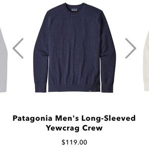 $119 Patagonia Yewcrag Crew cotton sweater navy L
